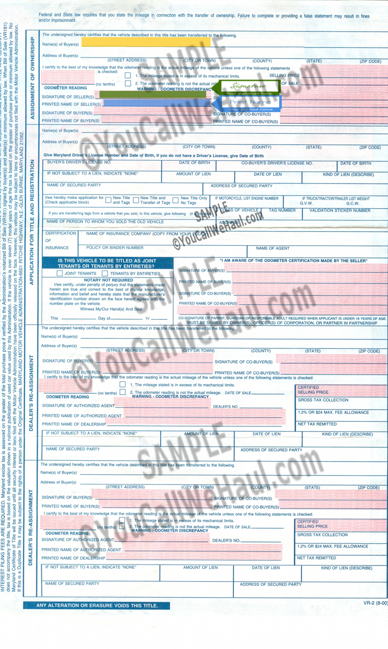 How to transfer maryland title and instructions for filling out how to transfer maryland title 1betcityfo Image collections