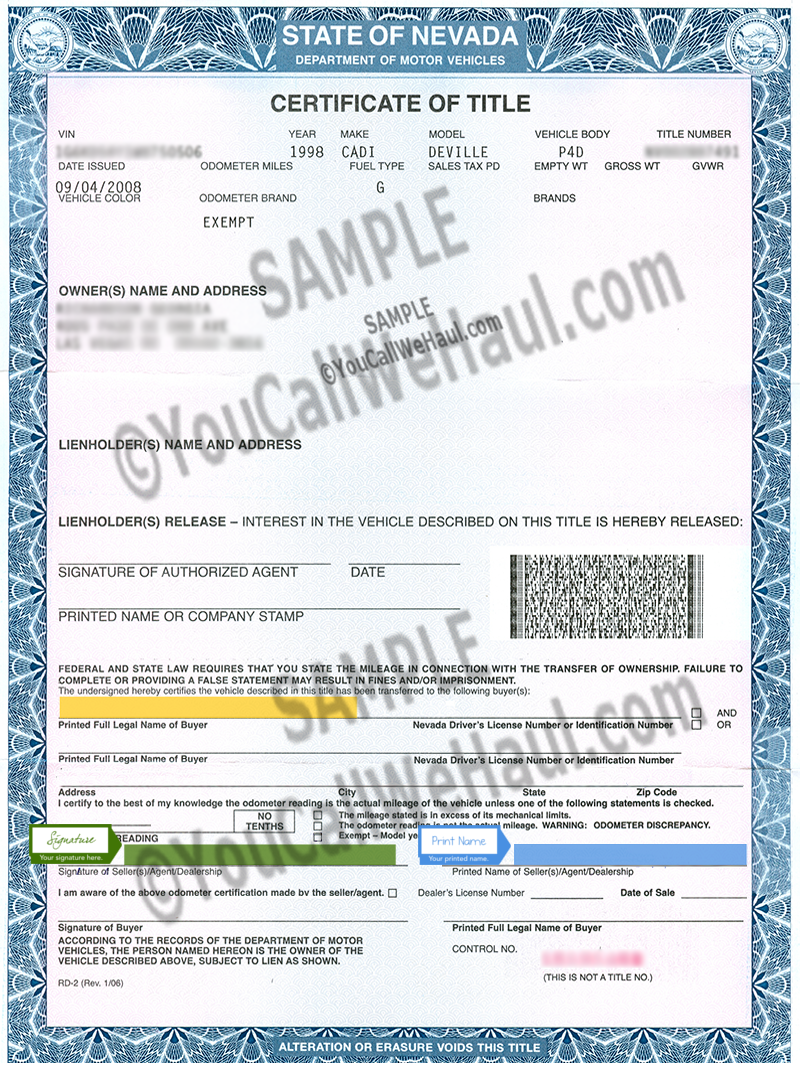 How to Transfer Nevada Title and instructions for filling
