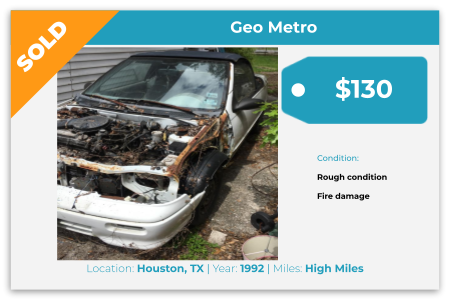 Sell Your Junk Car Today! Recently Sold 1992 GEO Metro in Houston, TX