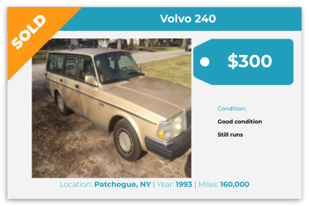 Sell Your Junk Car Today! Recently Sold 1993 Volvo 240 in Patchogue, NY