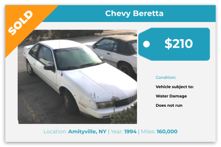 Sell Your Junk Car Today! Recently Sold 1994 Chevy Baretta in Amityville, NY