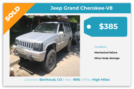 Sell Your Junk Car Today! Recently Sold 1995 Jeep Grand Cherokee V8 in Berthoud, CO