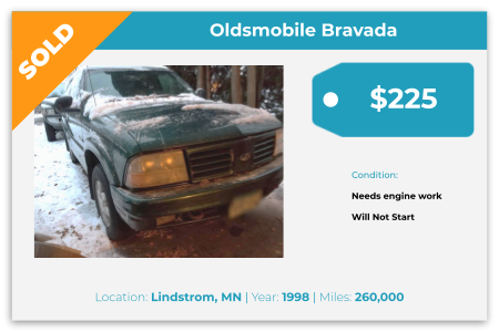 Sell Your Junk Car Today! Recently Sold 1998 Oldsmobile Bravada in Lindstrom, MN