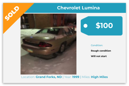 Sell Your Junk Car Today! Recently Sold 1999 Chevy Lumina in Grand Forks, ND