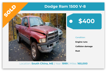 Sell Your Junk Car Today! Recently Sold 1999 Dodge Ram in South China, ME