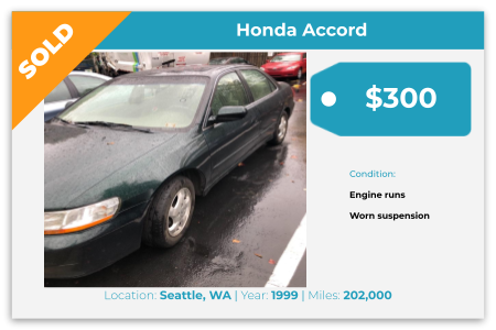 Sell Your Junk Car Today! Recently Sold 1999 Honda Accord In Seattle, WA