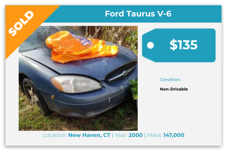 Sell Your Junk Car Today! Recently Sold 2000 Ford Taurus in New Haven, CT