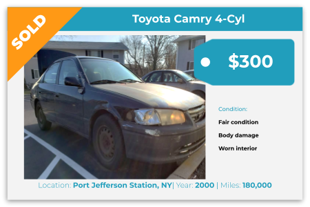 Sell Your Junk Car Today! Recently Sold 2000 Toyota Camry in Port Jefferson Station, NY