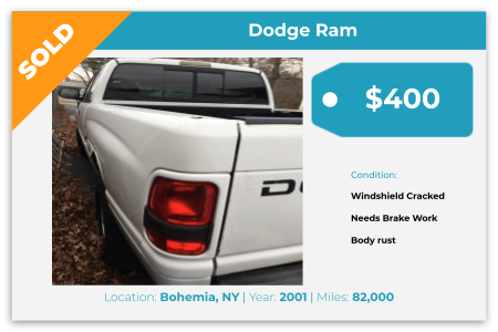 Sell Your Junk Car Today! Recently Sold 2001 Dodge Ram in Bohemia, NY