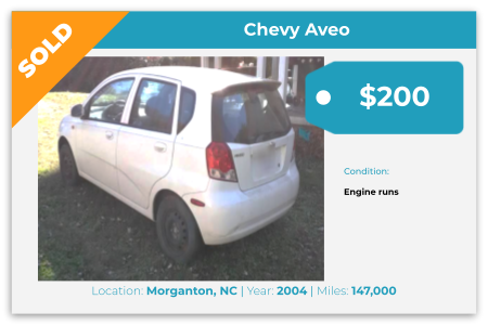 Sell Your Junk Car Today! Recently Sold 2004 Chevy Aveo in Morganton, NC