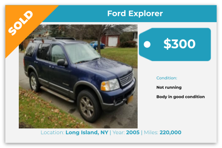 Sell Your Junk Car Today! Recently Sold 2005 Ford Explorer in Long Island, NY