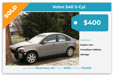 Sell Your Junk Car Today! Recently Sold 2006 Volvo S40 5 Cylinder in Riverview, MI