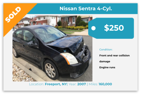 Sell Your Junk Car Today! Recently Sold 2007 Nissan Sentra in Freeport, NY