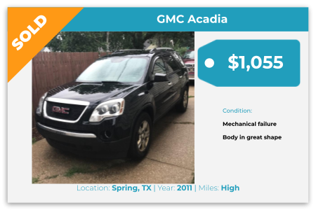 Sell Your Junk Car Today! Recently Sold 2011 GMC Acadia in Spring, TX