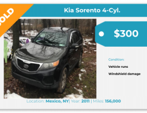 Sell Your Junk Car Today! Recently Sold 2011 Kia Sorento in Mexico, NY