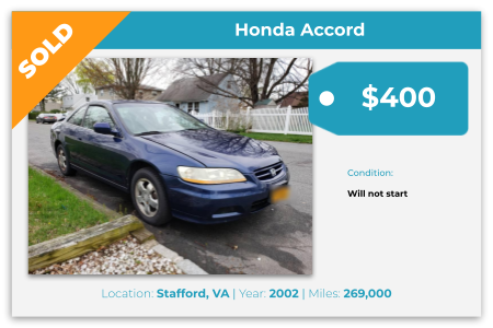sell honda accord for cash Richmond, VA