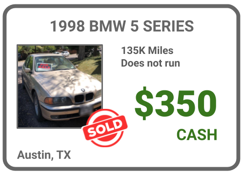 sell old BMW for cash Austin, TX